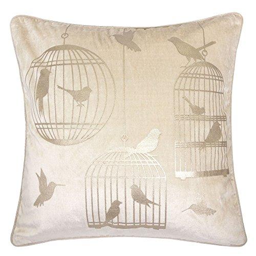 Homey Cozy Foil Applique Ivory Throw Pillow Cover,Gold Series Vintage Bird Luxury Silk Blush Vel ...