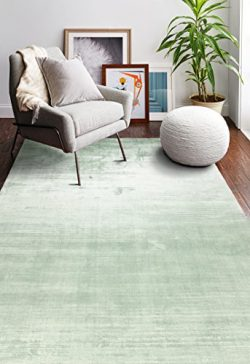 Bashian Radiance collection WZ hand loomed 100% banana silk area rug 7.9X9.9 Seafoam
