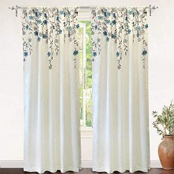DriftAway Isabella Faux Silk Embroidered Window Curtain Embroidered Crafted Flower Lined with Th ...