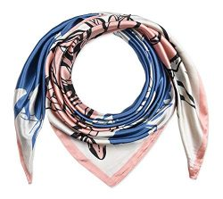 35″ Ladies Satin Square Silk Like Hair Scarves and Wraps Headscarf for Sleeping Tea Rose S ...