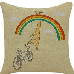 Goldenchildhood Animal Series Cartoon Lovely Giraffe Riding a Bike Style Throw Pillow Case Decor ...