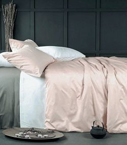 Eikei Rose Gold Duvet Cover Luxury Bedding Set High Thread Count Egyptian Cotton Sateen Silky So ...