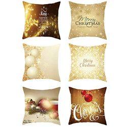 "Iusun 6PC Merry Christmas Pillow Covers Short Plush 18"" Square Waist Throw Pillowcase Fall ..."