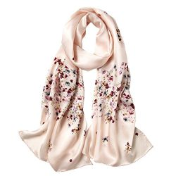 Women's 100% Mulberry Silk Scarf Floral Print Satin Long Scarf Wrap Shawl (xtrm03)