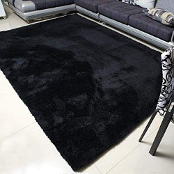 MBIGM Super Soft Modern Area Rugs, Living Room Carpet Bedroom Rug, Nursery Rug, Black, 63 inches ...