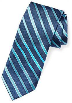 BUTTONED DOWN Men's Classic Silk 3″ Necktie, blue/teal stripe, Regular