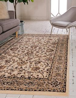 Unique Loom Kashan Collection Traditional Floral Overall Pattern with Border Ivory Area Rug (4&# ...