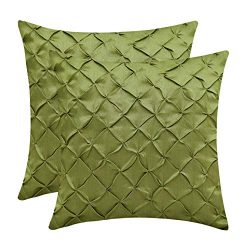 The White Petals Moss Green Cushion Covers (Faux Silk, Pinch Pleat, 16×16 inch, Pack of 2)