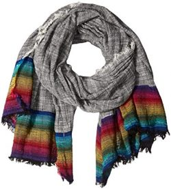 Steve Madden Women's Rainbow Hem Scarf with Fringe, black, One Size