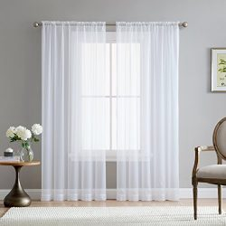 HLC.ME White Sheer Voile Window Treatment Rod Pocket Curtain Panels for Kitchen, Bedroom and Liv ...