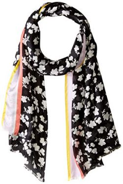 Calvin Klein Women's Ditsy Floral Silk Scarf, black, One Size