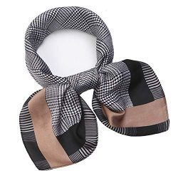 "Silk Like Scarf Square Satin Hair Scarf Fashion Grid Neck Scarfs for Women 27"" x 27"""
