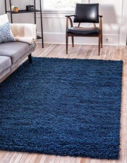 Unique Loom Solo Solid Shag Collection Modern Plush Navy Blue Area Rug (9′ 0 x 12′ 0)