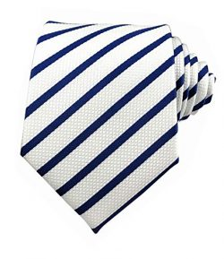 Secdtie Men Classic Navy Blue White Jacquard Woven Silk Tie Formal Necktie TW016
