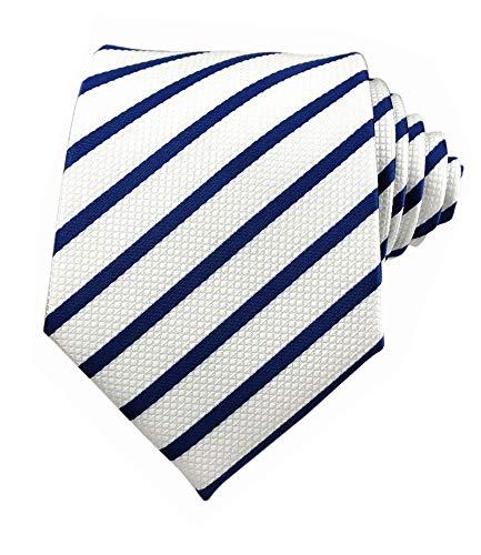Secdtie Men Classic Navy Blue White Jacquard Woven Silk Tie Formal Necktie TW016