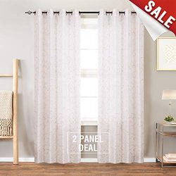 Swirl Embroidered Curtains for Bedroom 95 inches Long Faux Silk Semi Sheers Embroidery Window Cu ...