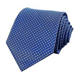 Men's Classic Checks Light Blue Jacquard Woven Silk Tie Necktie + Gift Box (Bright blue)