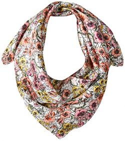 LAUNDRY BY SHELLI SEGAL Women's Poppy Garden Silk Square Scarf, very very berry, One Size