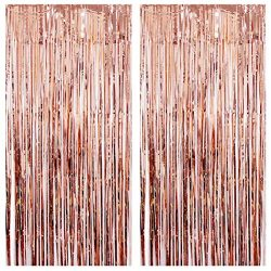 Fxbar 2Pcs Metallic Fringe Foil Curtains, Tinsel Backdrop Wedding Birthday Party Stage Layout Ro ...