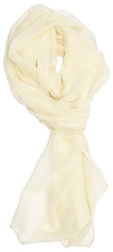 Ted and Jack – Solid Color Silk Blend Lightweight Accent Scarf (Light Ivory)