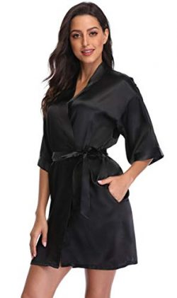 season dressing Women Satin Plain Short Kimono Bridesmaid Bathrobe Wedding Party Robe, Black S/M
