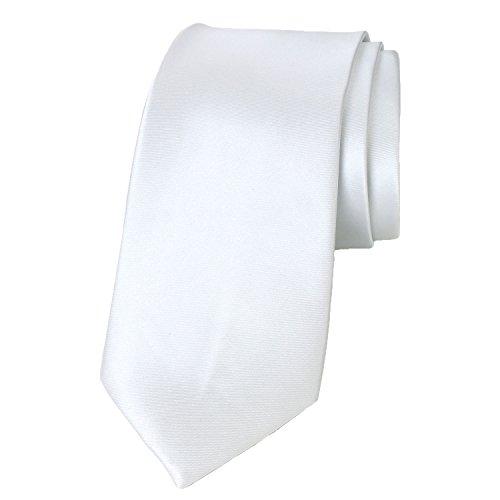 Spring Notion Men's Solid Color Satin Microfiber Tie, Skinny White