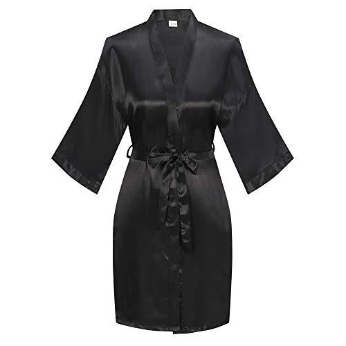 ExpressBuyNow Women's Short kimono Robe Satin robe for wedding, Black, Large