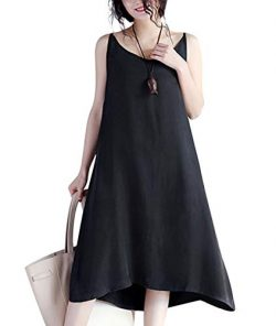 YESNO JEL Women Casual Loose Slip T-Shirt Dresses Beach Cover up Plain Dress A Skirt Hemline (M, ...