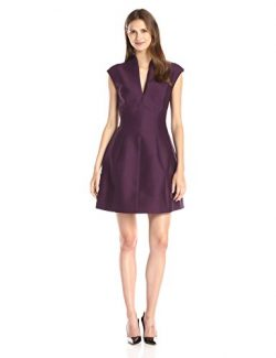 Halston Heritage Women's Silk Faille Cap-Sleeve Cocktail Dress, Port, 0