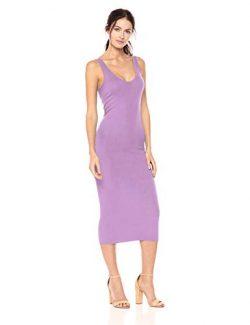 Enza Costa Women's Stretch Silk Rib Tank Midi Dress, Aster, L