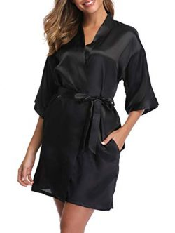 ABC-STAR Womens Short Satin Kimono Robe for Wedding Bridal Party Bridesmaid Robe, Black, M