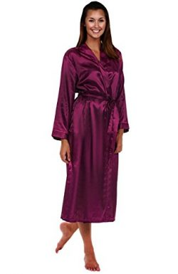 Alexander Del Rossa Women's Lightweight Satin Robe, Long Kimono, 2X Deep Purple (A0755PUR2X)