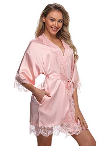 Sexy Silk Kimono Robe for Women Short Sleepwear Bride and Bridesmaid Bath Robe with Lace Trim Li ...