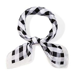 SOJOS Silk Like Plaid Women Scarf Square Satin Headscarf Hair Scarf 27″ SC330 with Black a ...
