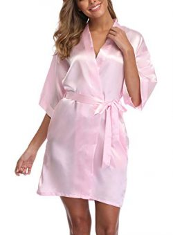 UrHot Women's Short Kimono Robe Bridal Party Robe for Bridesmaid Satin Sleepwear Pink