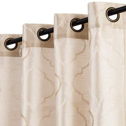 jinchan Faux Silk Floral Curtains Moroccan Tile Design Embroidered Grommet Top Semi Sheer Curtai ...