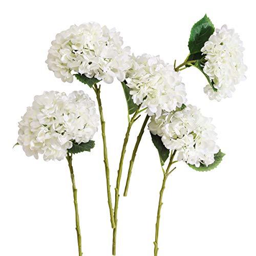 PARTY JOY 5PCS Artificial Hydrangea Silk Flowers Bouquet Faux Hydrangea Stems for Wedding Center ...