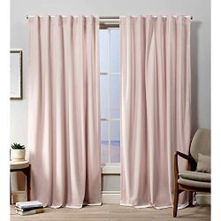 Exclusive Home Curtains Velvet Hidden Tab Top Curtain Panel, 52×108, Blush, 2 Panels