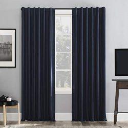 Sun Zero Greyson Faux Dupioni Silk Extreme 100% Blackout Back Tab Curtain Panel, 50″ x 95& ...