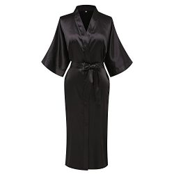 Goodmansam Women's Simplicity Style Nightwear Elegant Kimono Robes, Long,Medium,Pure Black3
