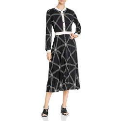Tory Burch Womens Printed Long Sleeves Midi Dress