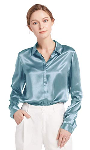 LilySilk Women's 100 Silk Blouse Long Sleeve Lady Shirt 22 Momme Charmeuse Silk (Blue Haze ...