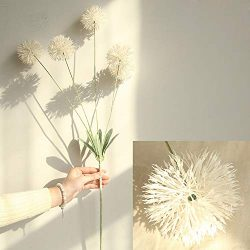 Fine Artificial Silk Fake Flowers Dandelion Floral Wedding Bouquet Hydrangea Decor (White)