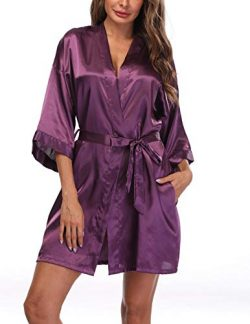 Sueshop Women's Satin Kimono Robes Short Silky Bathrobe Pure Color Robe for Wedding Deep P ...