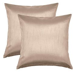 Aiking Home 18×18 Inches Faux Silk Square Throw Pillow Cover, Zipper Closure, Sand (Set of 2)