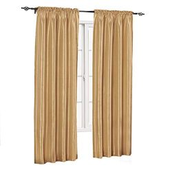 sheetsnthings Soho Faux Silk, 84-Inch Wide x 63-Inch Long, Polyester, Set of 2 Curtain Panels, Gold