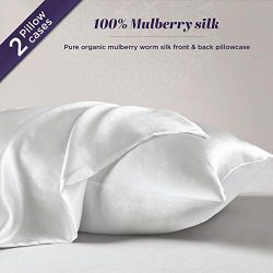 100% Natural White Silk Pillowcase for Hair and Skin – Organic Mulberry Silk Pillow Case w ...
