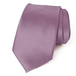 Spring Notion Men's Solid Color Satin Microfiber Tie, Skinny Dusty Wisteria