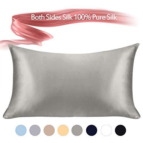 100% Mulberry Silk Pillowcase Pure ,21 Momme Both Side Real Silk Pillowcases Hidden Zippered Sli ...
