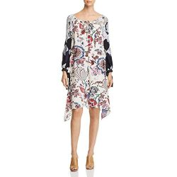 Tory Burch Womens Floral Print Long Sleeves Casual Dress